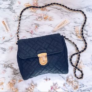 PRADA Tessuto Quilted Gold Chain Bag Authentic